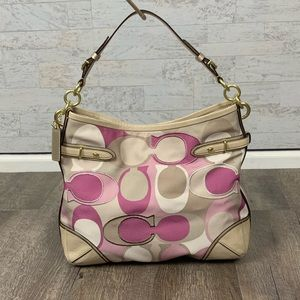 Coach Carly monogram canvas lavender hobo bag